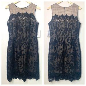 Julia Jordan Crochet Black Midi Dress NWT 12